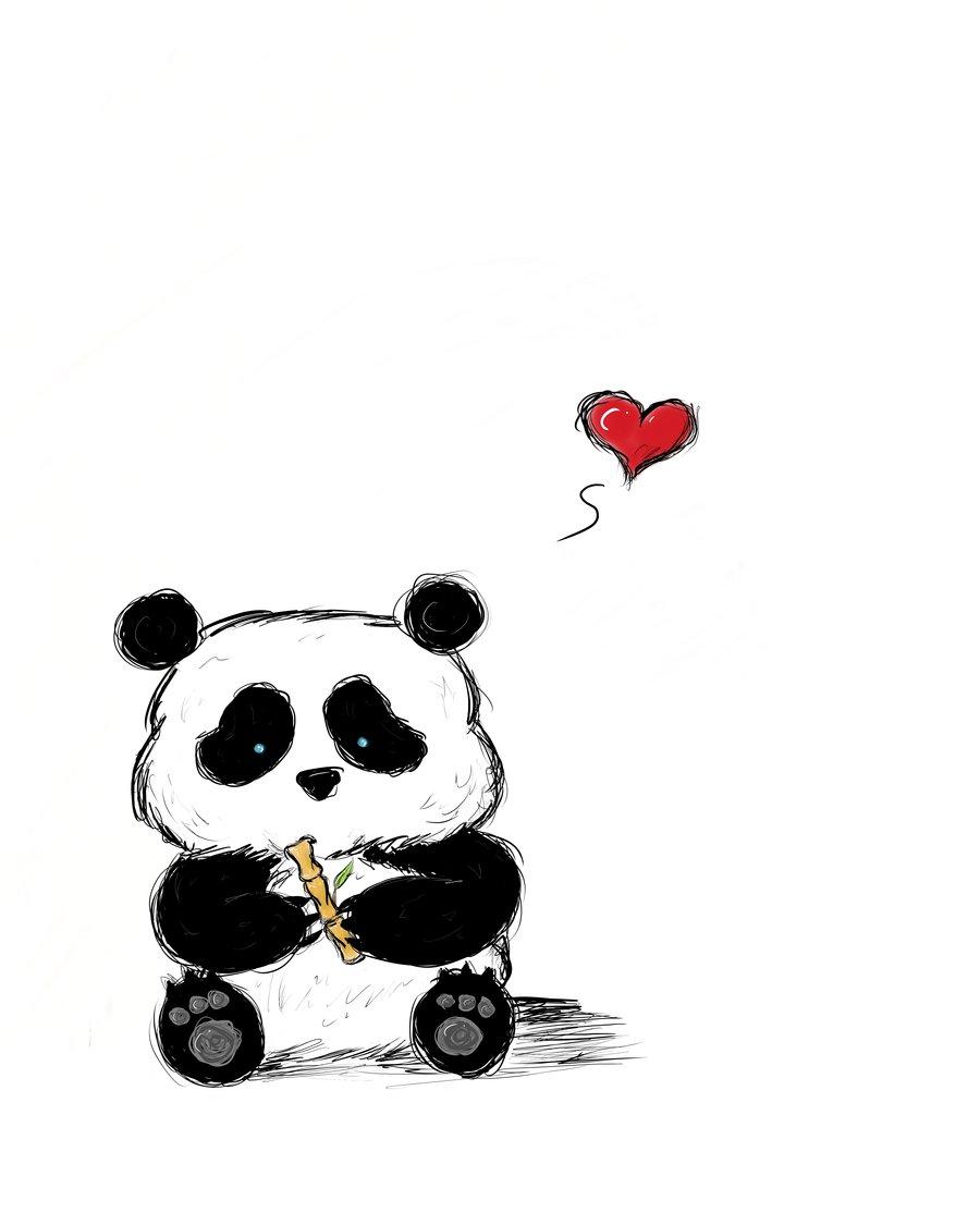 Hình vẽ chú gấu trúc dễ thương