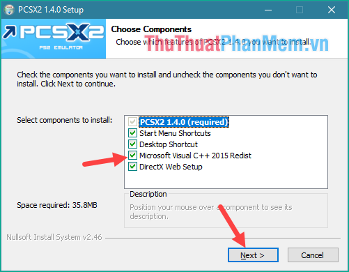Tích chọn Visual C++ và DirectX (nếu chưa có) và nhấn Next