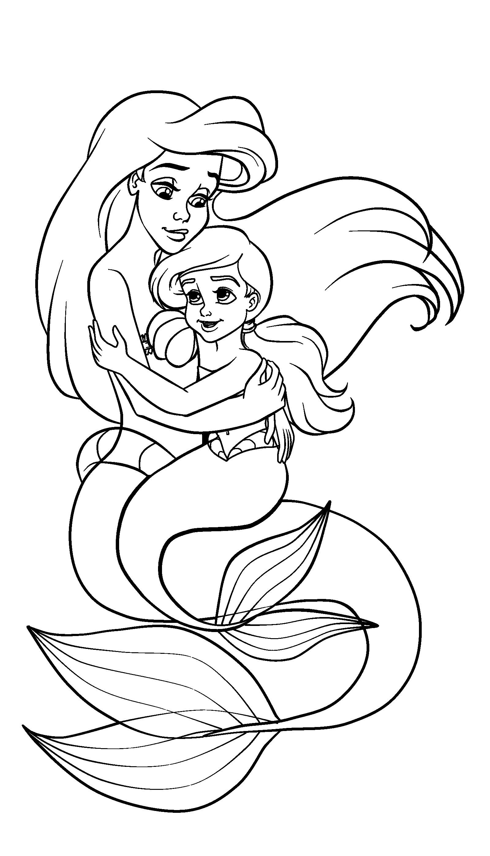 Tranh nàng tiên cá cho bé tập tô