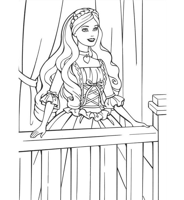 Tranh tập tô màu hình công chúa Barbie đẹp