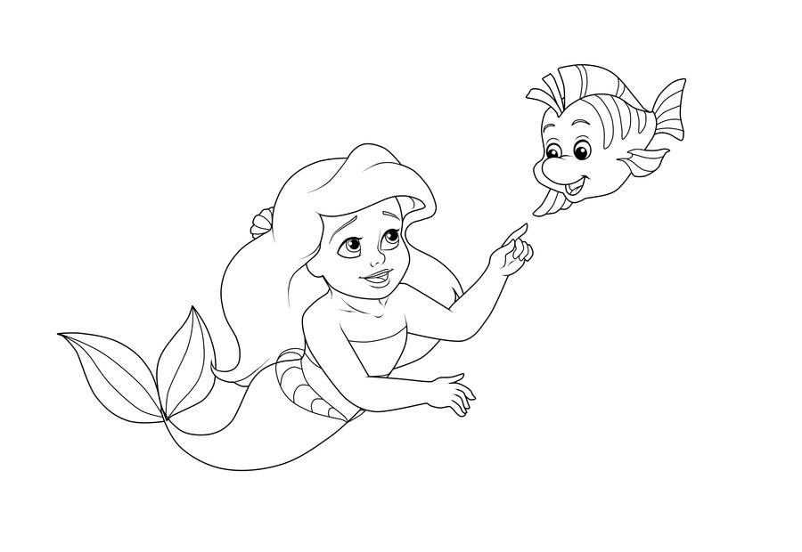 Tranh tập tô nàng tiên cá cho bé