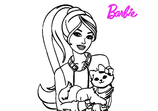 Tranh tô màu búp bê Barbie đáng yêu