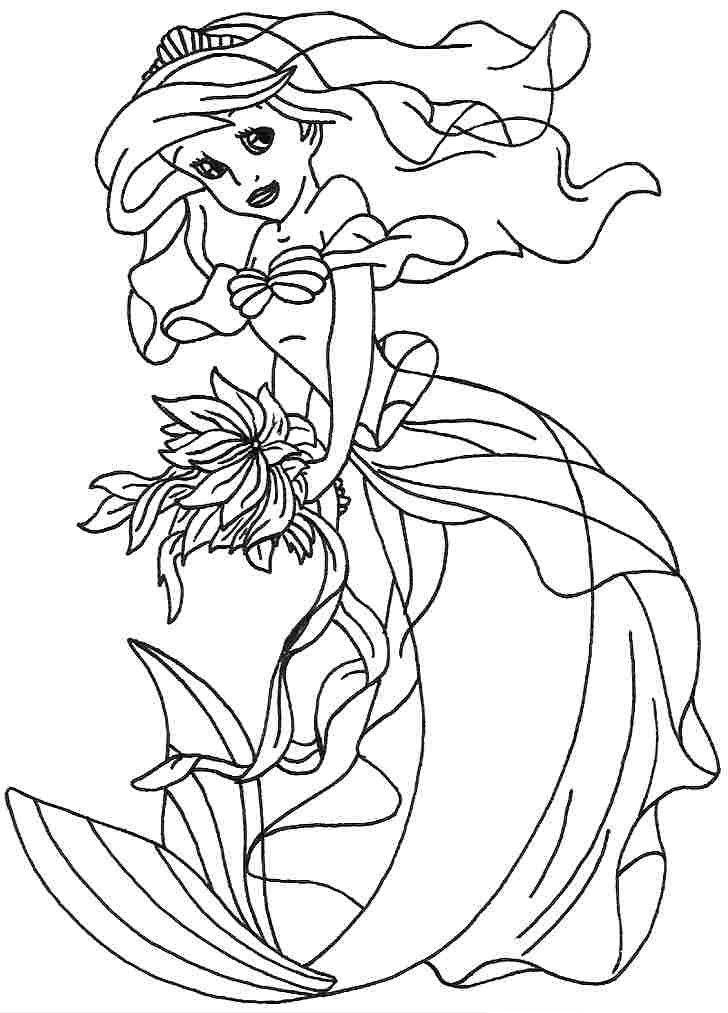 Tranh tô màu hình nàng tiên cá ariel