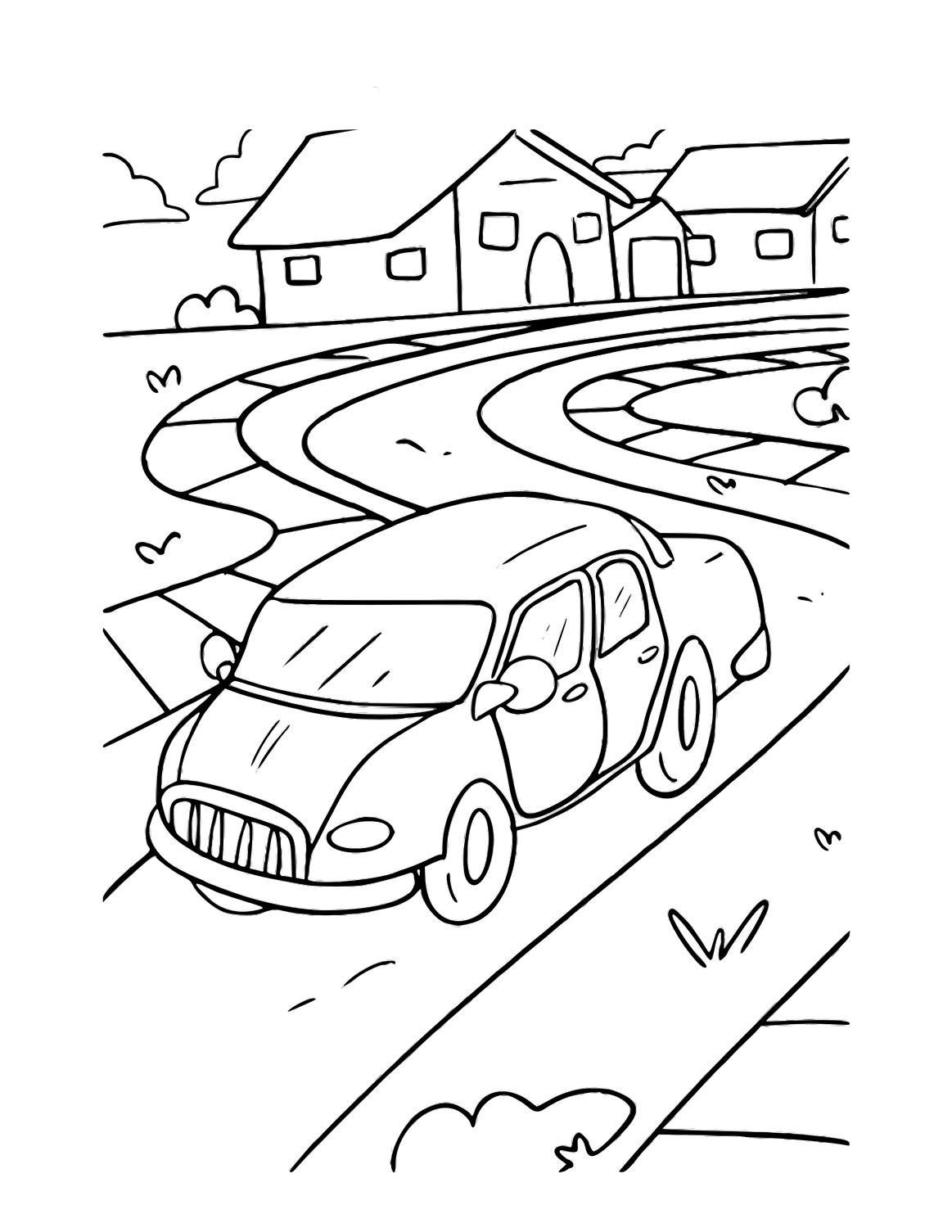 Tranh tô màu ô tô con trên đường