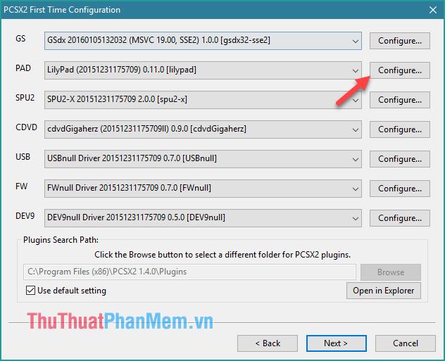 Tuỳ chỉnh các nút điều khiển bằng cách nhấn nút Configure ở mục PAD