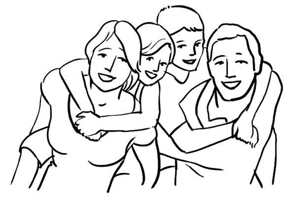 Bé tô màu tranh gia đình