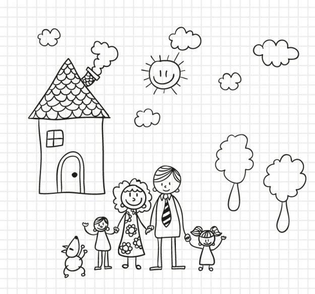 Hình ảnh tô màu về gia đình