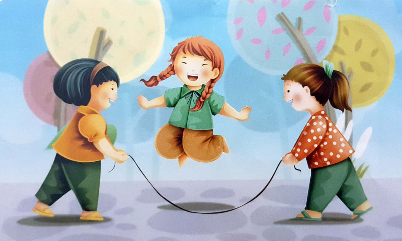 Hình ảnh tranh vẽ trò chơi dân gian nhảy dây