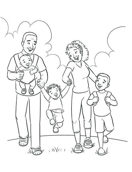 Hình gia đình đen trắng cho bé tô màu