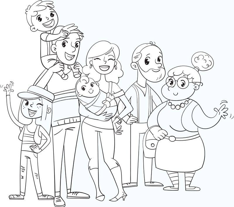 Hình gia đình tô màu