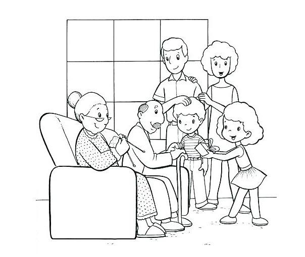 Hình tập tô cho bé về gia đình