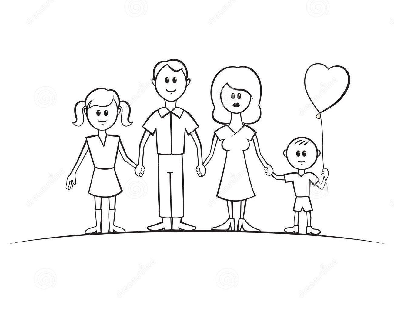 Hình tập tô gia đình cho bé tô màu