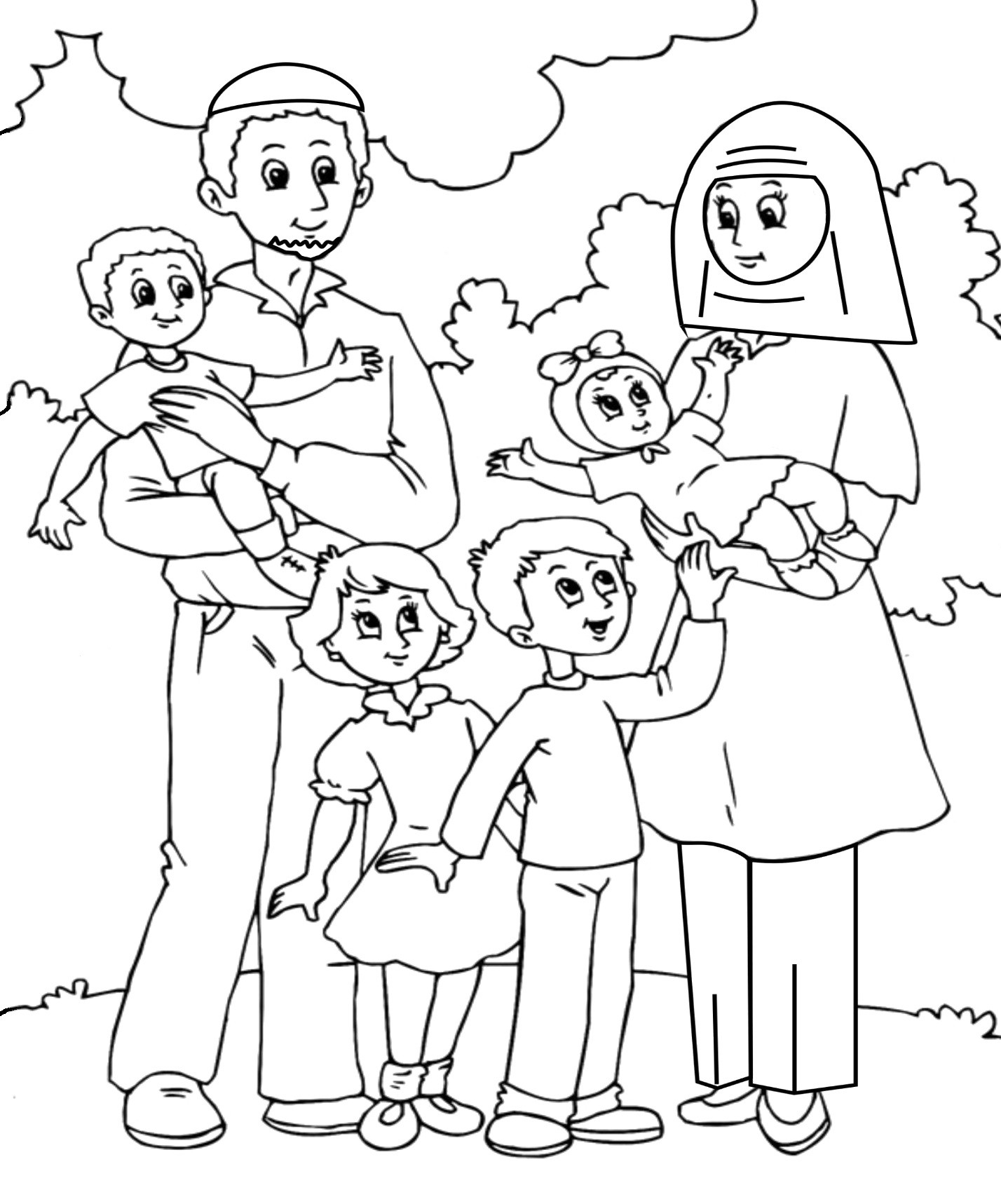 Hình tập tô màu gia đình cho bé