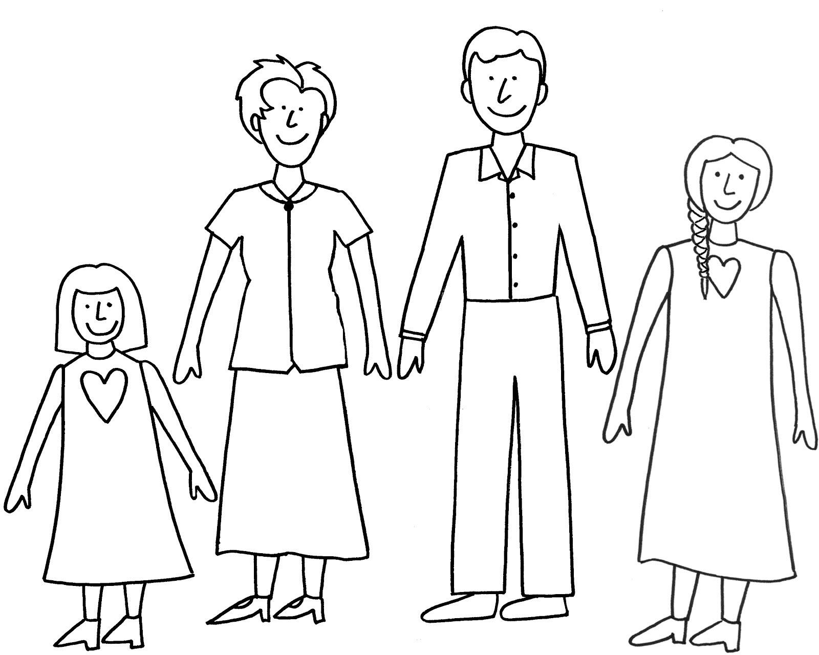 Hình tập tô màu gia đình của bé