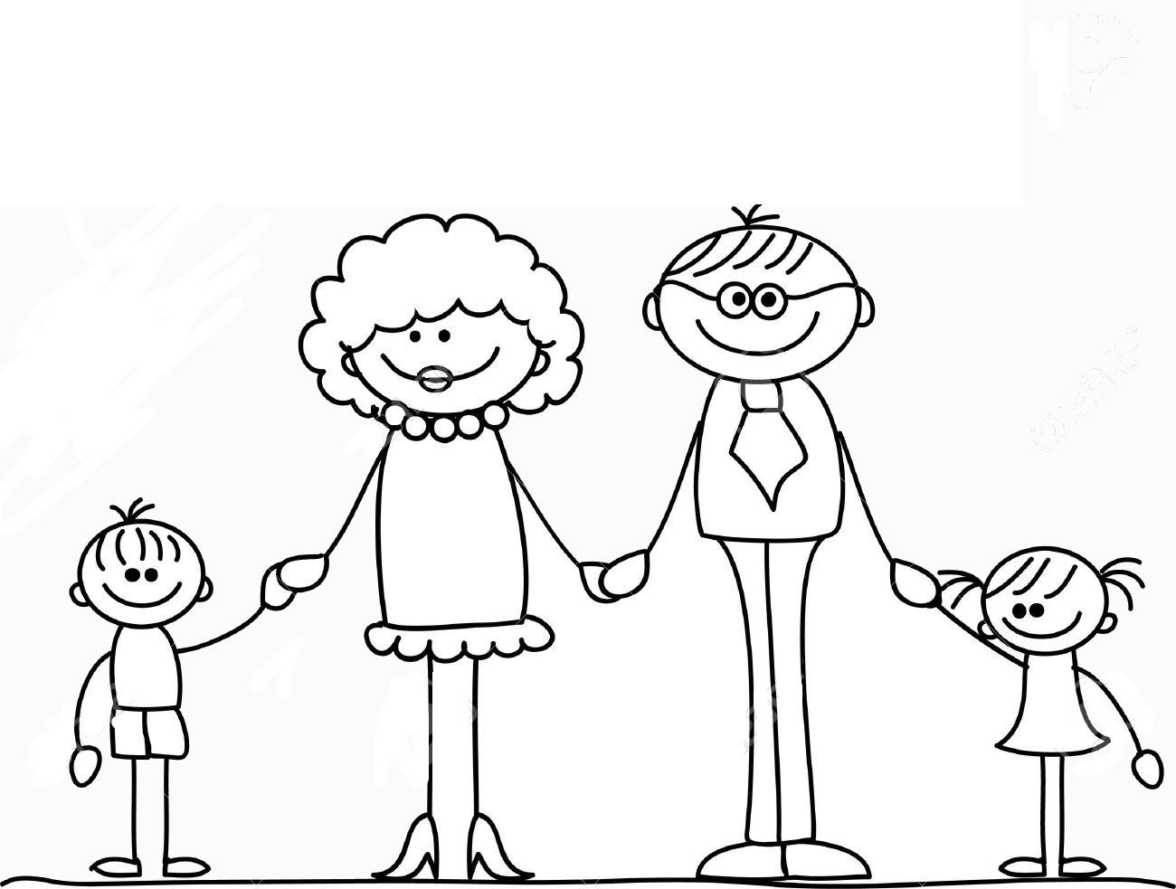Hình tập tô màu gia đình hoạt hình ngộ nghĩnh