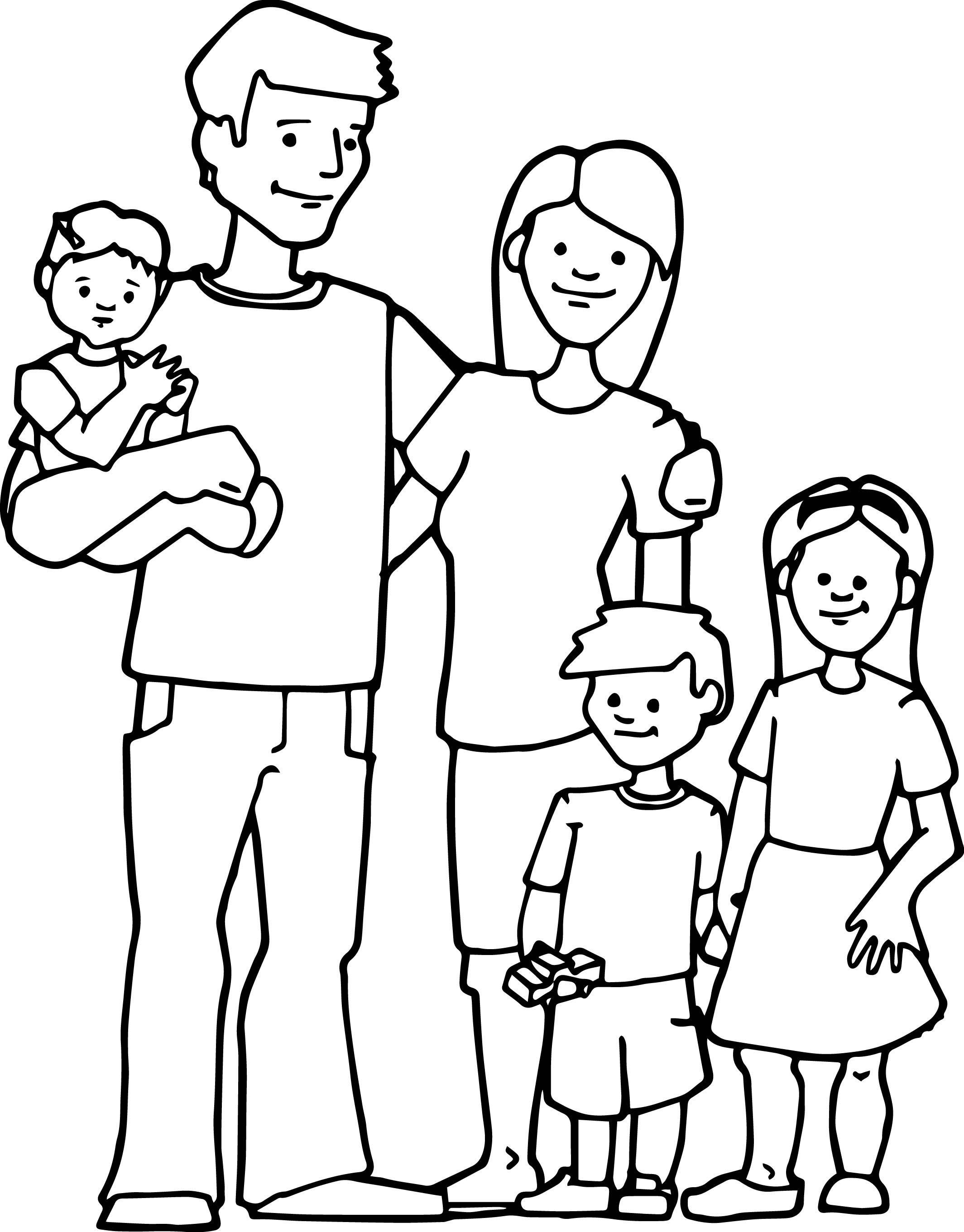 Hình tập tô màu gia đình vui vẻ