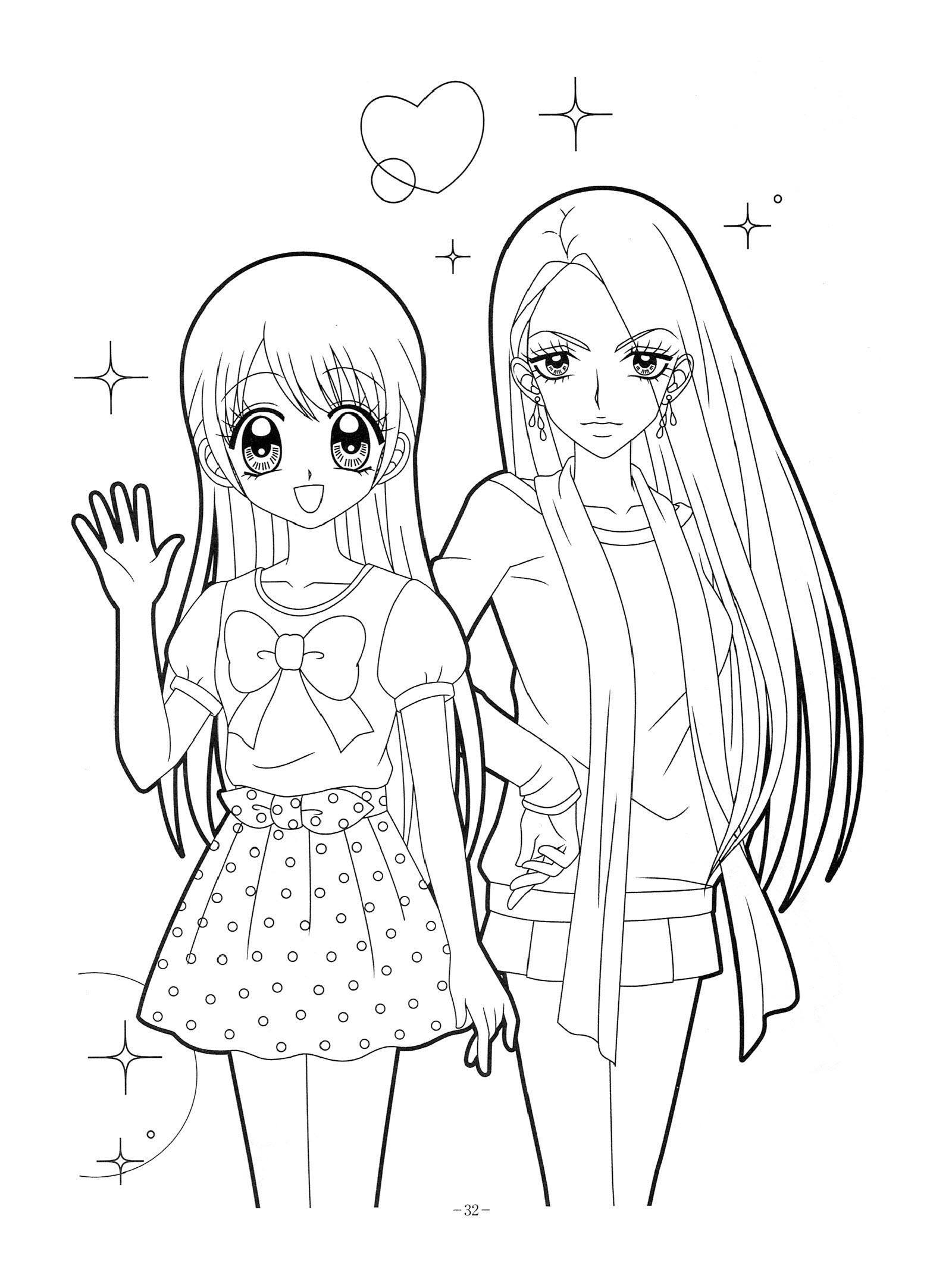 Hình tô màu anime đẹp cho bé tập tô màu