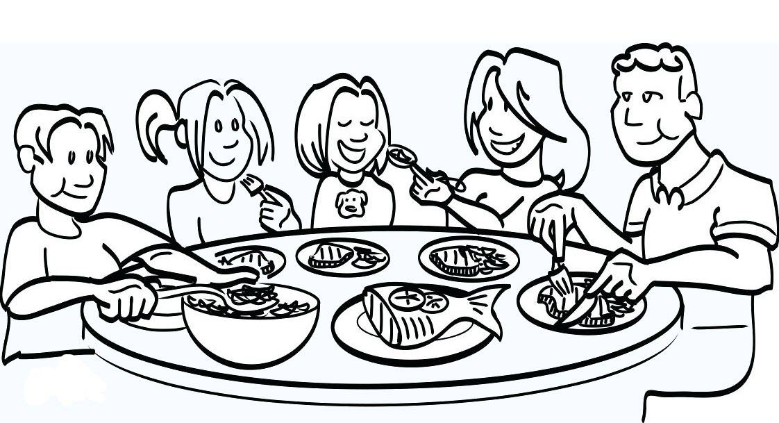 Hình tô màu bữa cơm gia đình
