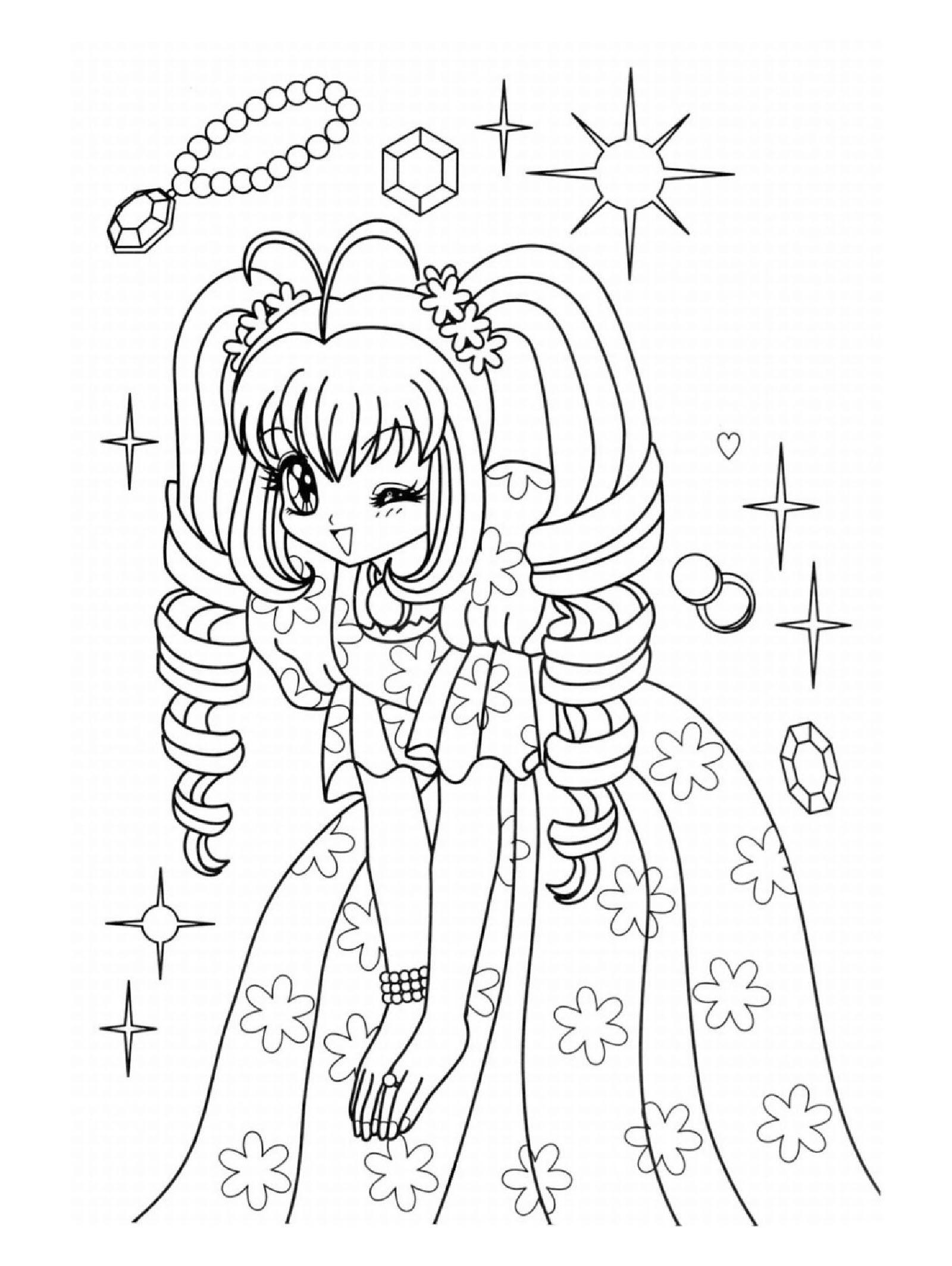 Hình tô màu cô gái anime đáng yêu