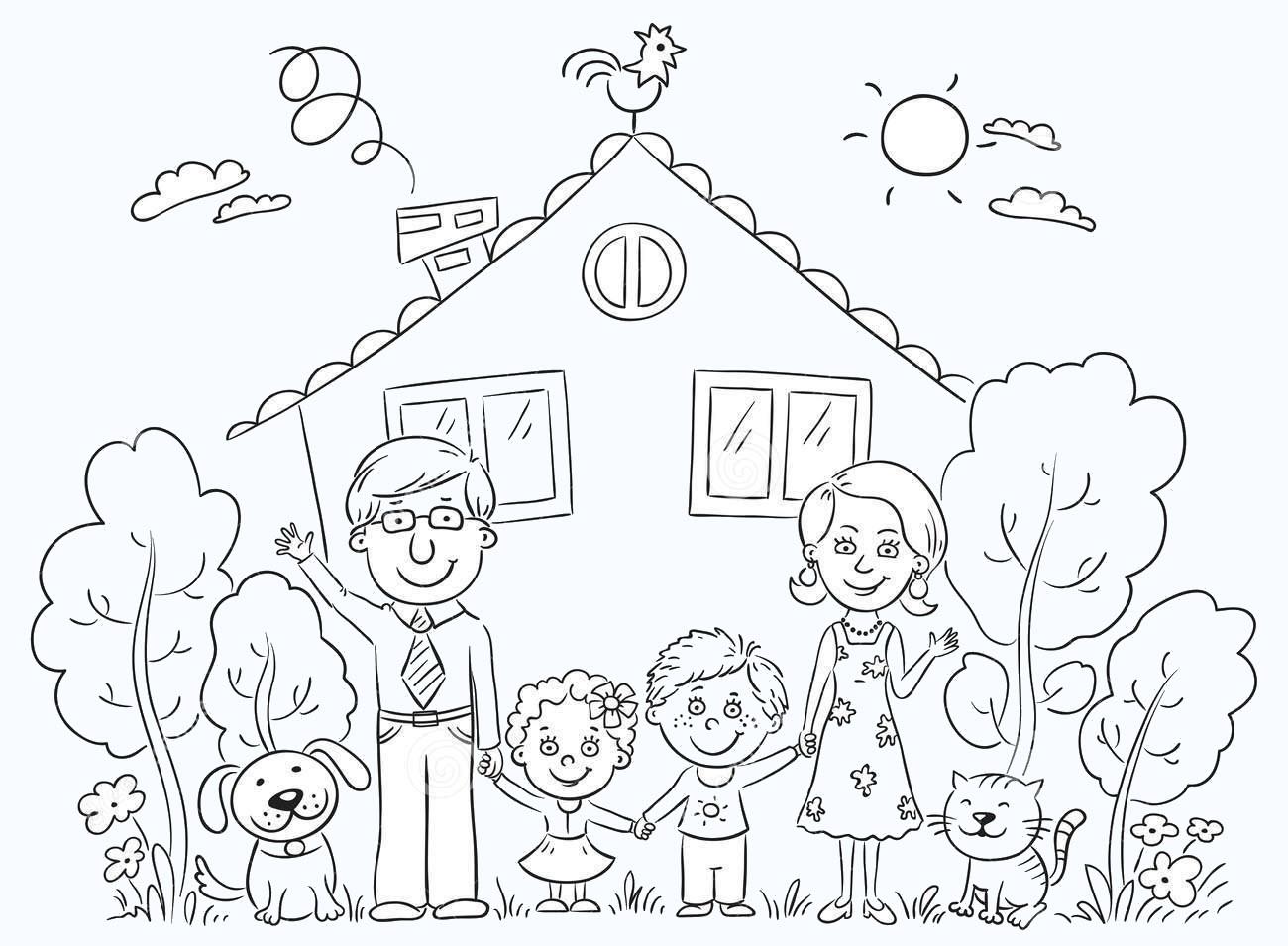 Hình tô màu gia đình cho bé