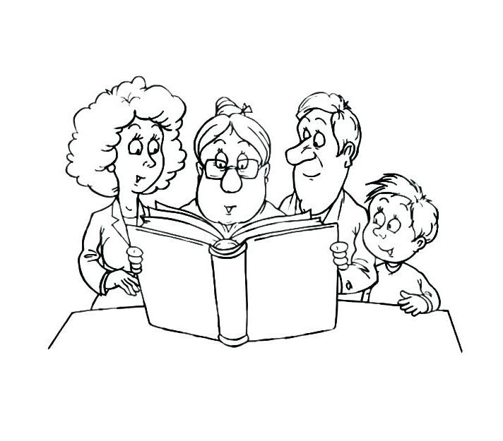 Hình tô màu gia đình hạnh phúc