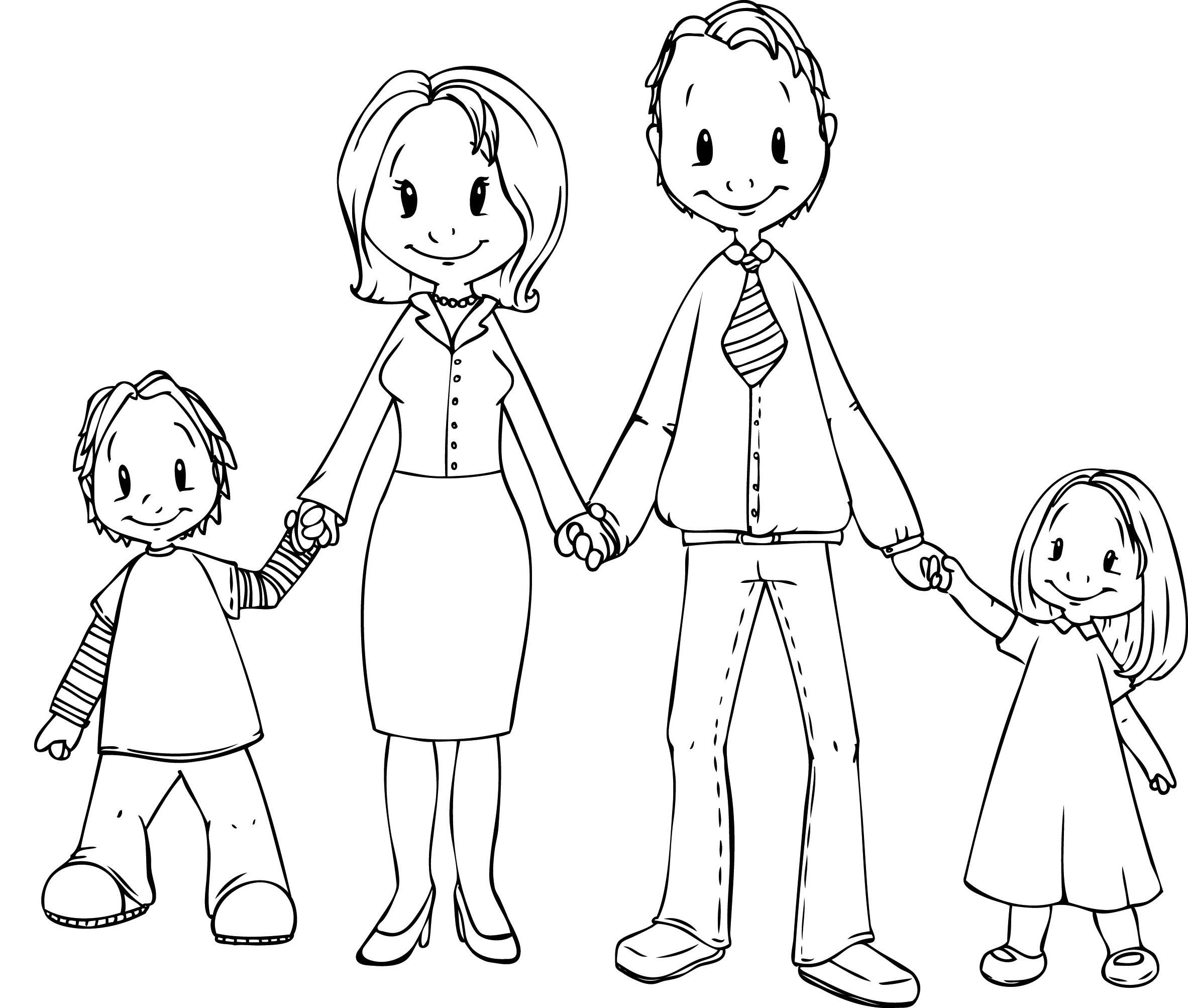Hình tô màu gia đình nắm tay nhau