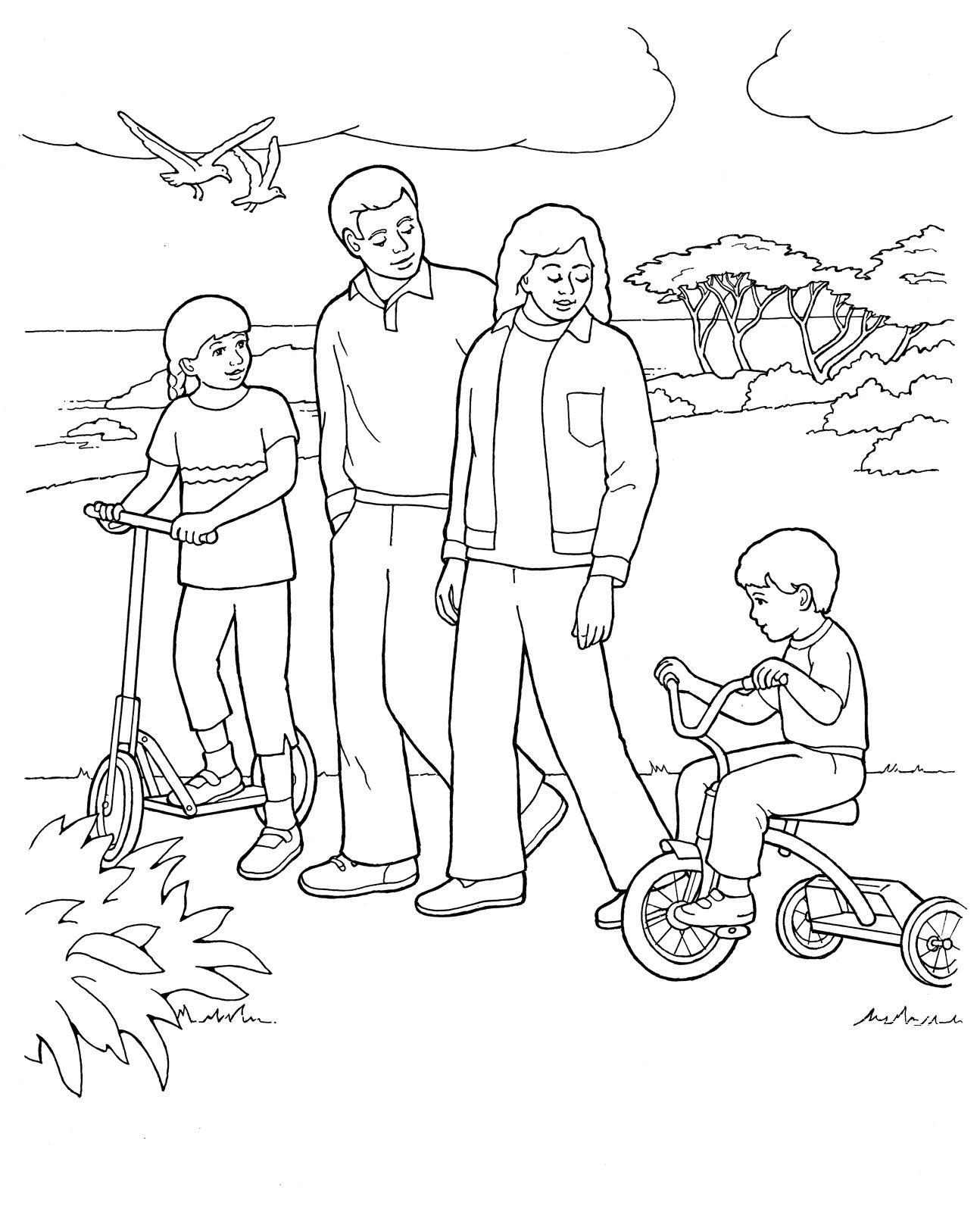 Hình tô màu gia đình vui vẻ