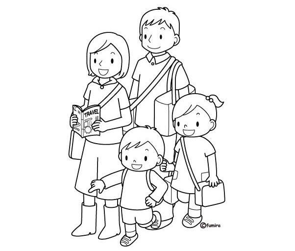 Tập tô màu hình gia đình của bé