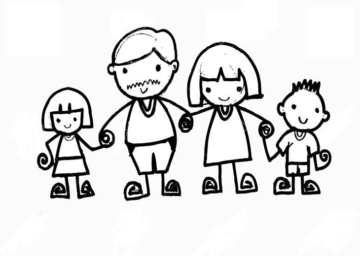 Tập tô màu hình gia đình hạnh phúc