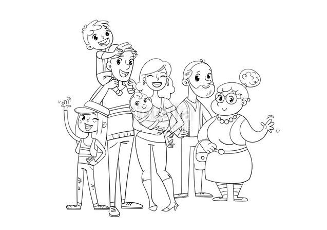 Tập tô màu hình gia đình vui vẻ