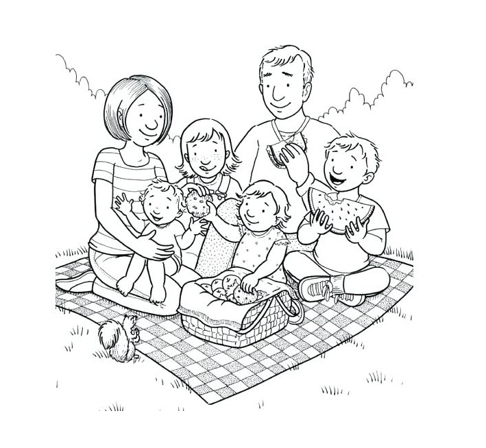Tập tô màu hình gia đình
