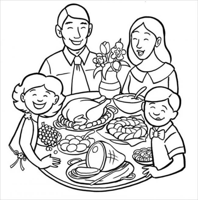 Tập tô màu mâm cơm gia đình