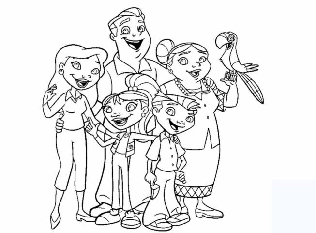 Tô màu gia đình vui vẻ