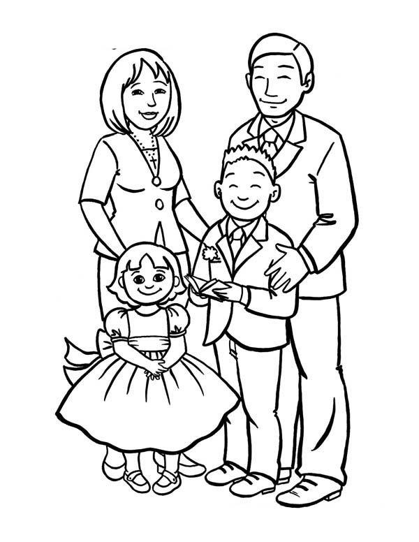 Tô màu hình gia đình đẹp