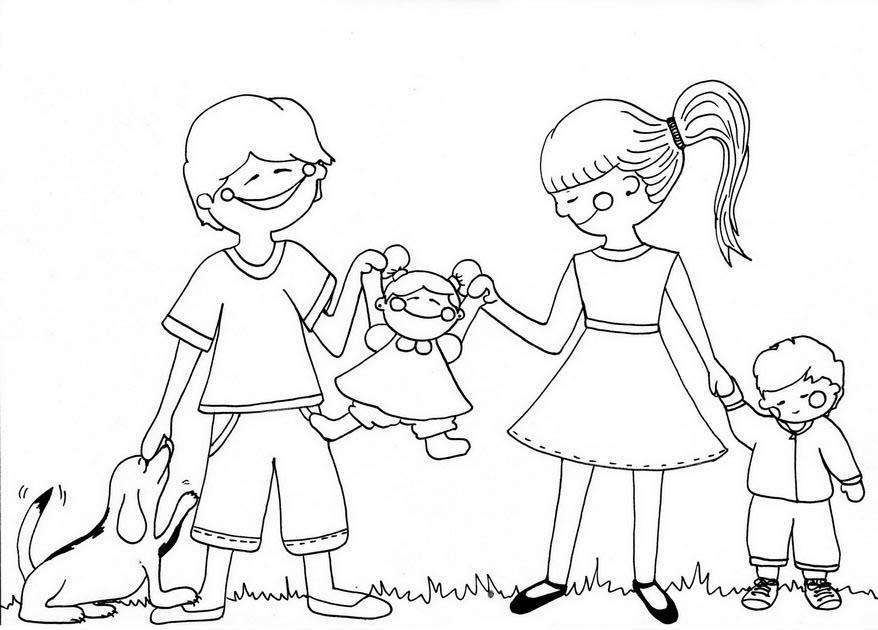 Tranh gia đình cho bé tập tô màu