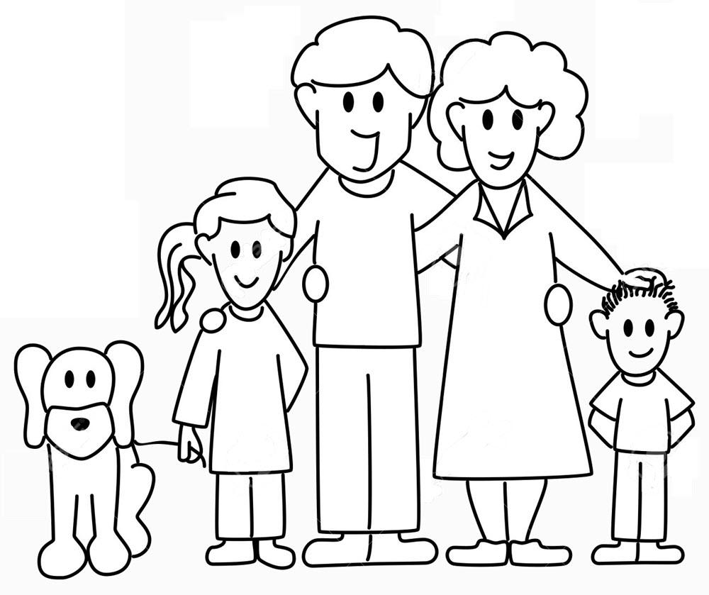 Tranh gia đình cho bé tô màu