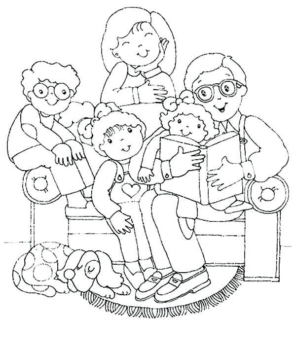 Tranh gia đình đẹp cho bé tập tô màu