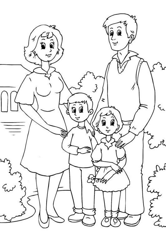 Tranh gia đình đẹp cho bé tô màu