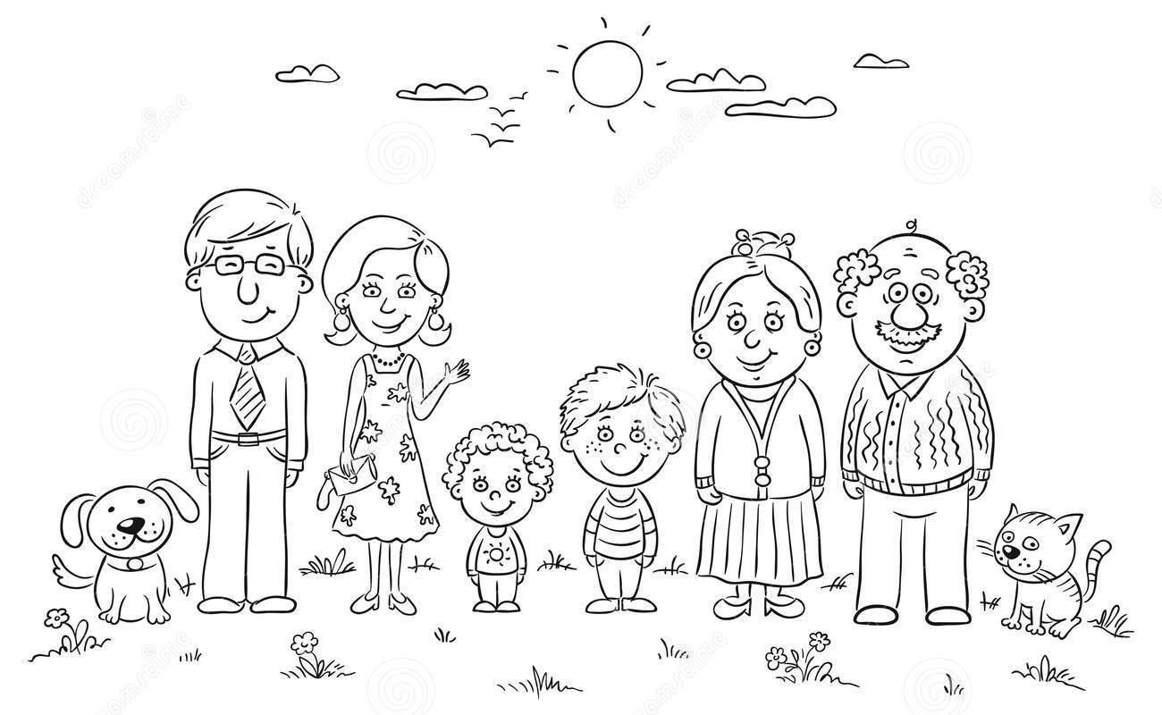 Tranh gia đình nhiều thế hệ cho bé tô màu