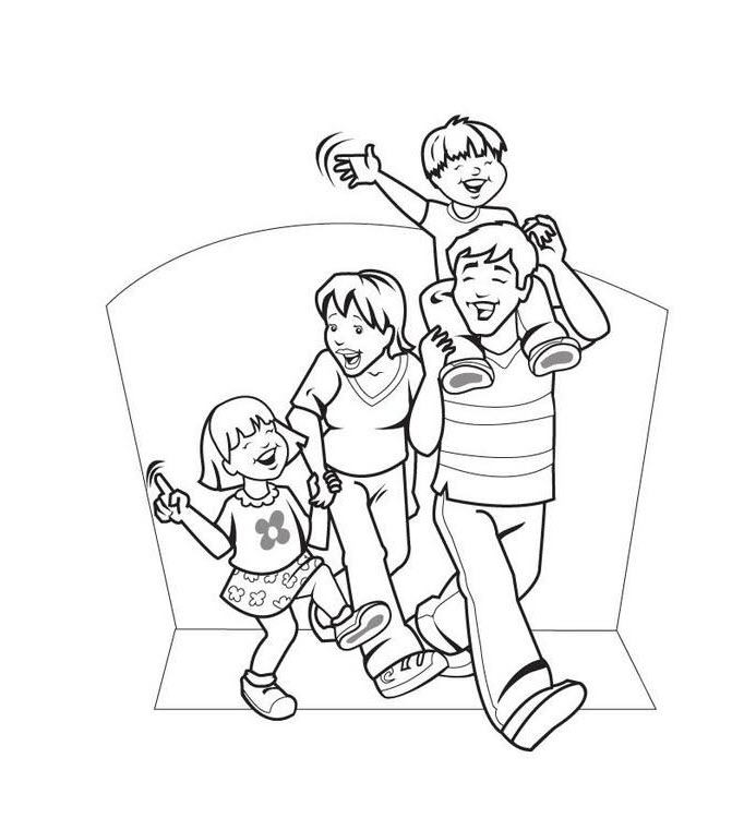 Tranh tập tô hình gia đình hạnh phúc