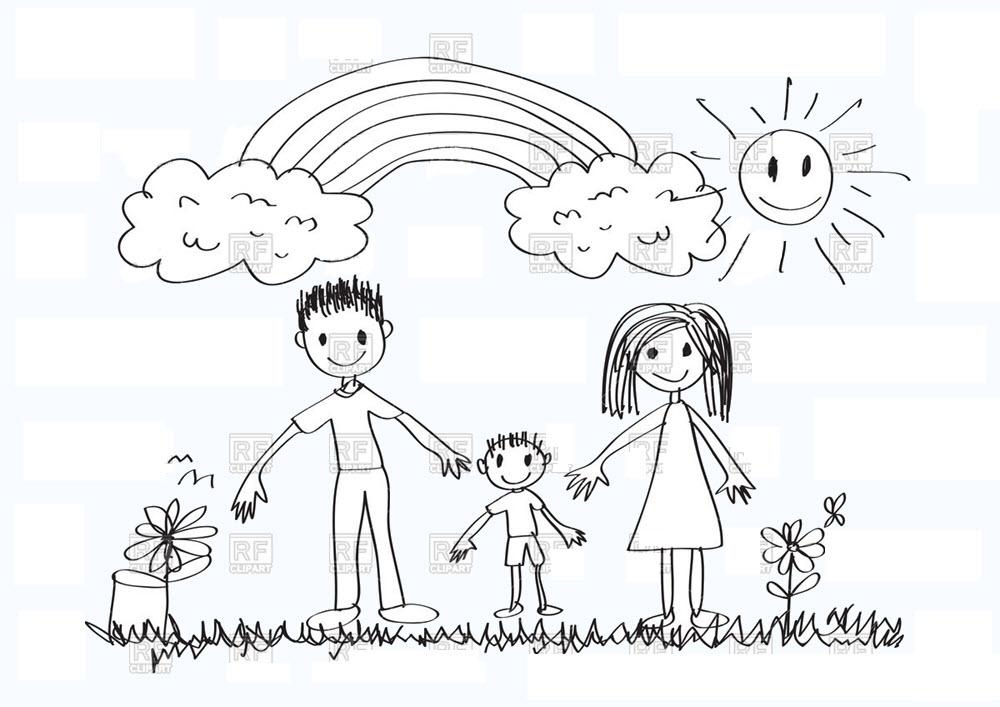 Tranh tập tô màu gia đình cho bé