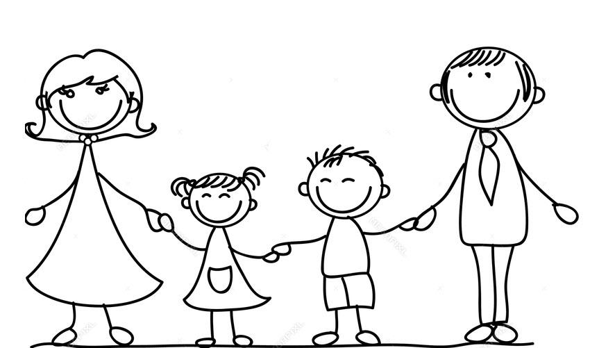 Tranh tập tô màu hình gia đình hoạt hình