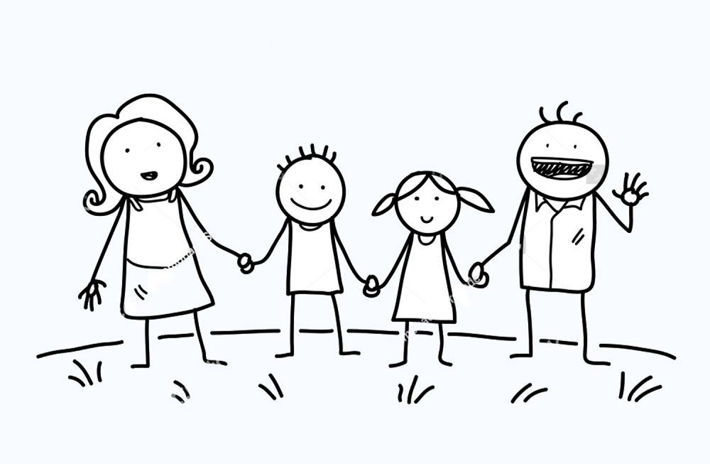 Tranh tập tô màu hình gia đình vui vẻ