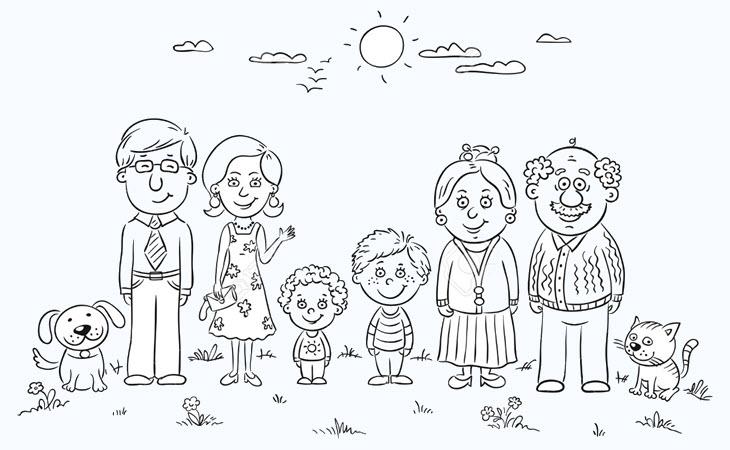 Tranh tập tô màu hình gia đình