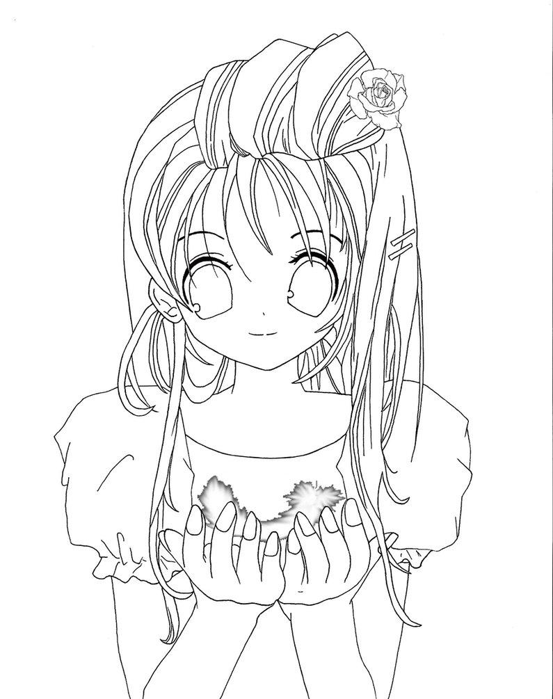 Tranh tô màu anime cô gái đẹp