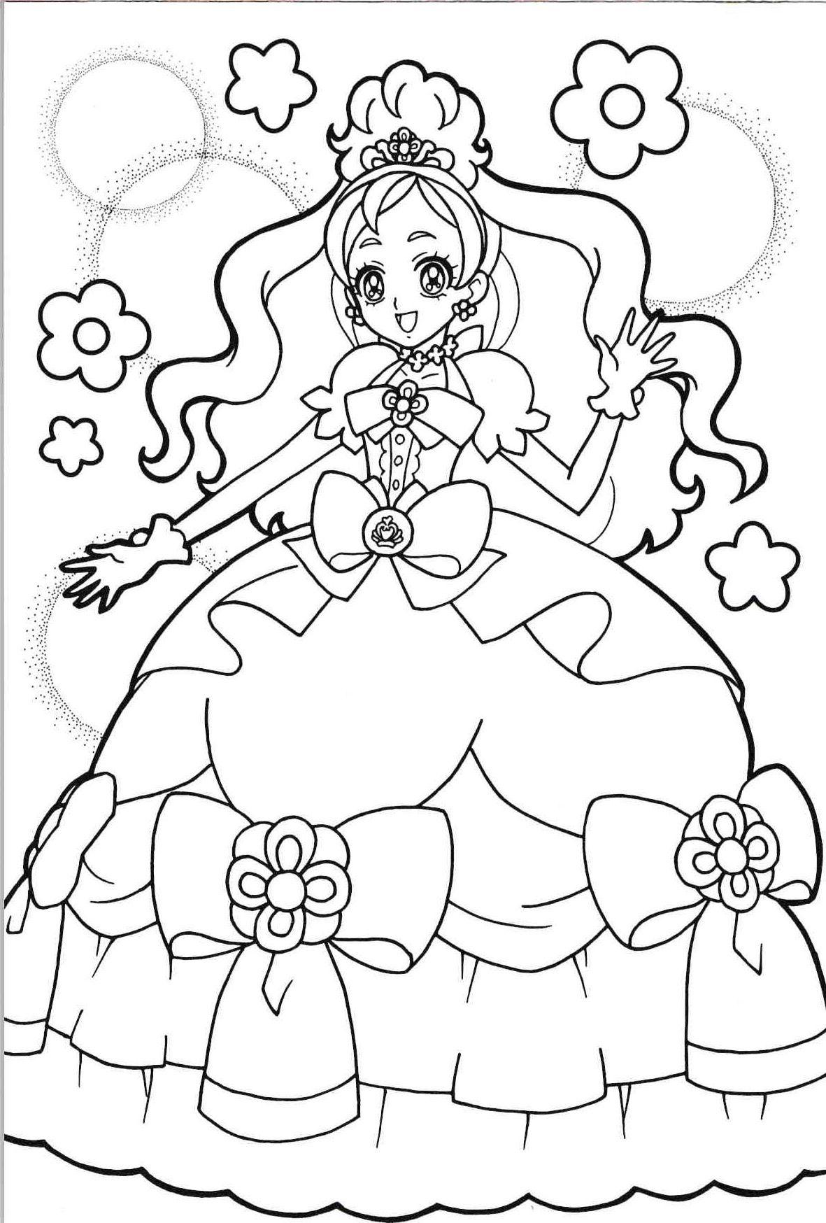 Tranh tô màu anime công chúa