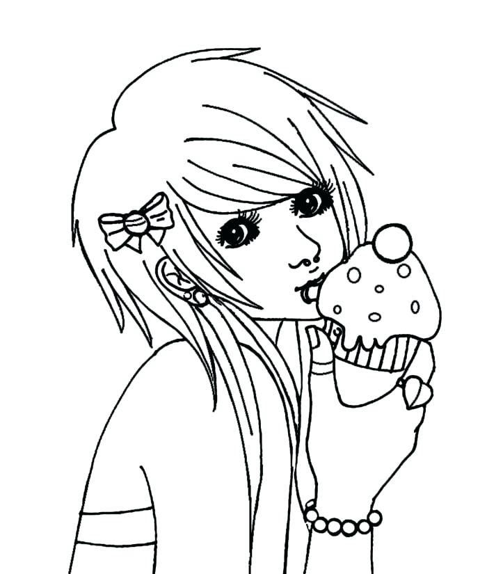 Tranh tô màu anime hình cô gái đẹp