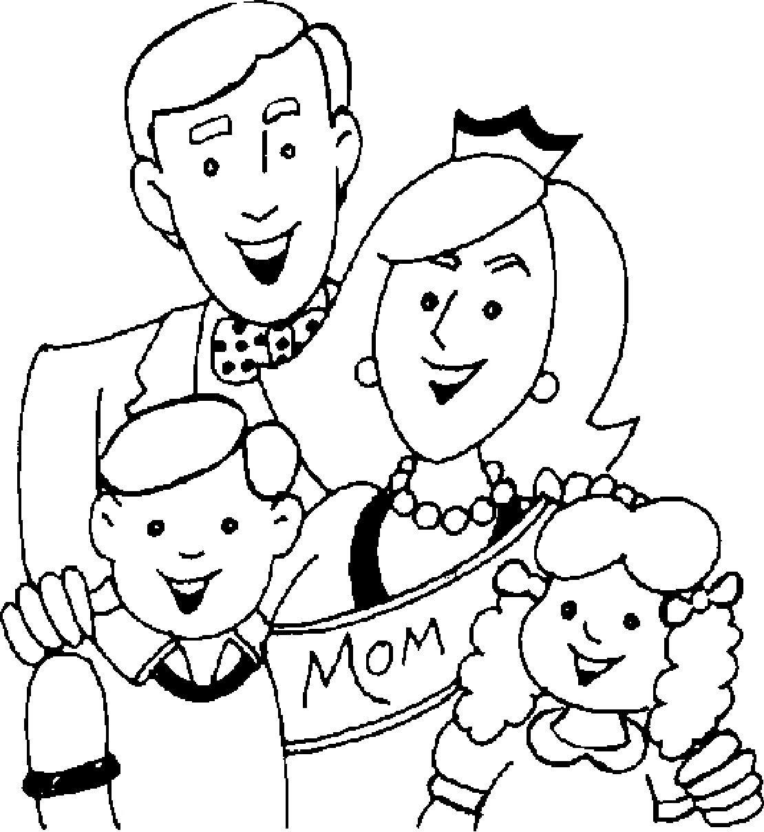 Tranh tô màu cho bé về gia đình