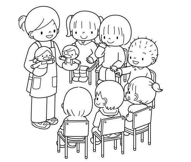 Tranh tô màu chủ đề trường mầm non của bé