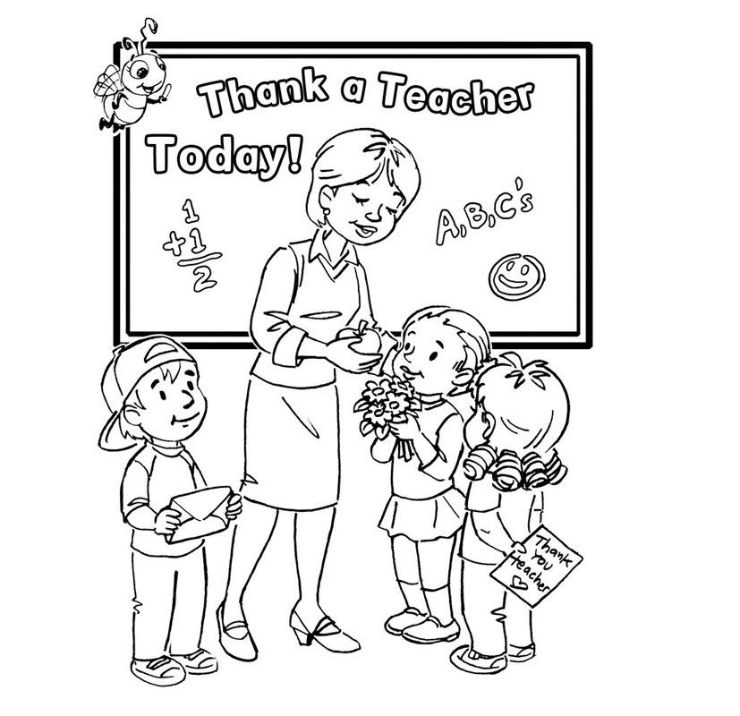 Tranh tô màu cô giáo và các bé trường mầm non